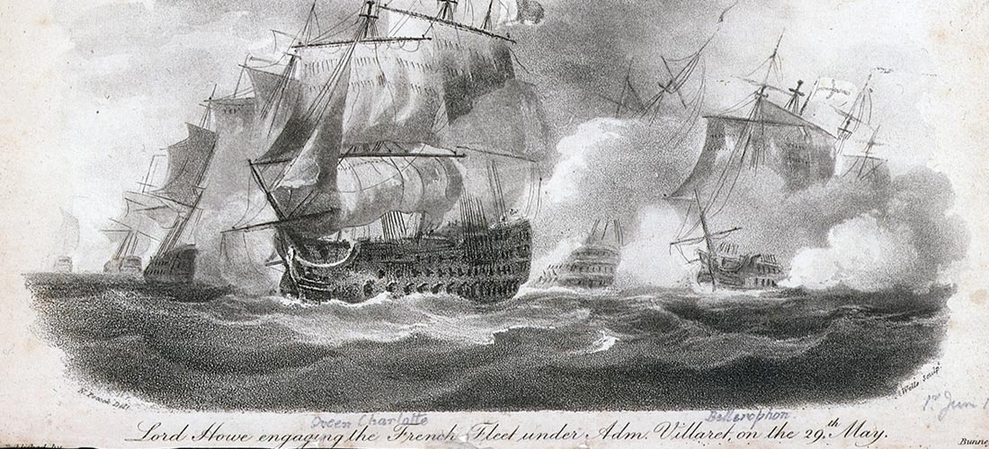 Lord Howe engaging the French Fleet, followed by Bellerophon