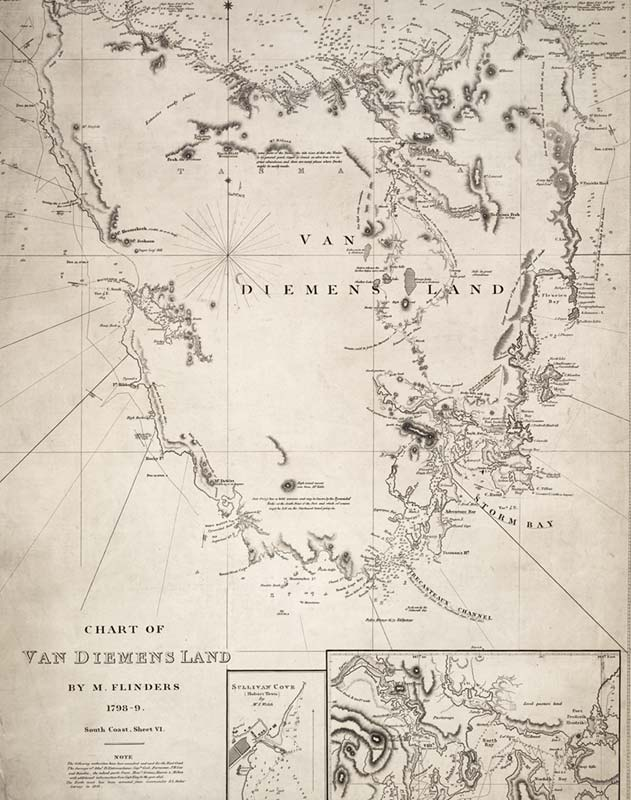 Map of Van Diemens land by M.Flinders